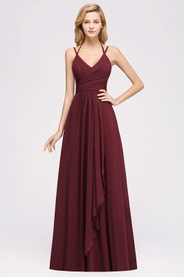 A-line  Spaghetti Straps Sleeveless Ruffles Floor-Length Bridesmaid Dresses_22