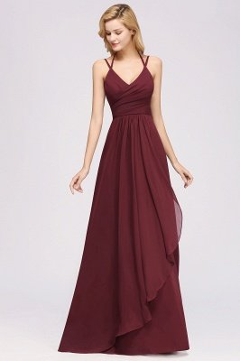 A-line  Spaghetti Straps Sleeveless Ruffles Floor-Length Bridesmaid Dresses_26