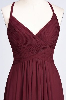 A-Line Spaghetti-Straps V-Neck Sleeveless Floor-Length  Bridesmaid Dress with Ruffles_38