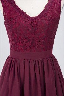 A-Line V-Neck Sleeveless Knee-Length  Lace Bridesmaid Dress with Ruffles_4