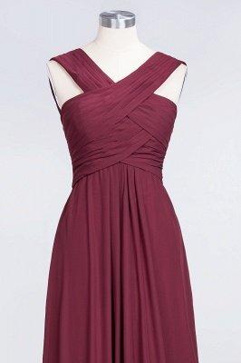 A-Line V-Neck Straps Sleeveless Floor-Length  Bridesmaid Dress with Ruffles_4