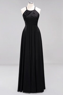 A-Line  Halter Ruffles Floor-Length Bridesmaid Dress_28