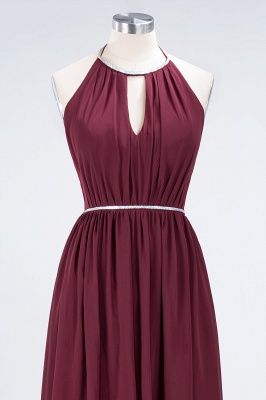 A-line Halter Sleeveless Floor-Length  Bridesmaid Dress with Beading Sash_4