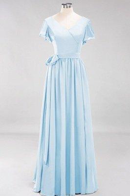 elegant A-line  V-Neck Short-Sleeves Floor-Length Bridesmaid Dresses with Bow Sash_22