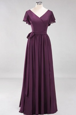 elegant A-line  V-Neck Short-Sleeves Floor-Length Bridesmaid Dresses with Bow Sash_19