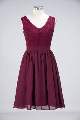 A-Line V-Neck Sleeveless Knee-Length  Lace Bridesmaid Dress with Ruffles_1