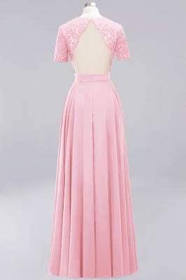 A-Line Chiffon Bridesmaid Dresses | Sweetheart Cap Sleeves Lace Wedding Party Dresses_3