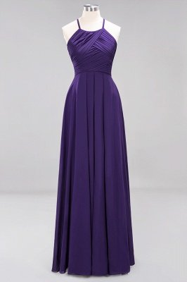 A-Line  Halter Ruffles Floor-Length Bridesmaid Dress_18