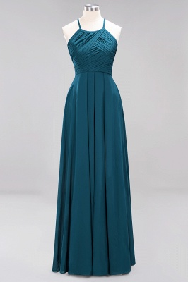 A-Line  Halter Ruffles Floor-Length Bridesmaid Dress_26