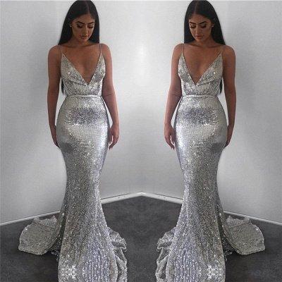 Stunning Spaghetti Straps Sleeveless V-Neck Backless Prom Dress_4