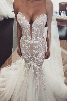 Glamorous Appliques V-Neck Sleeveless  Mermaid Wedding Dress_1