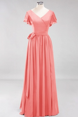 elegant A-line  V-Neck Short-Sleeves Floor-Length Bridesmaid Dresses with Bow Sash_7