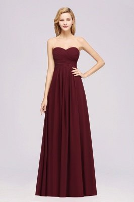A-line  Sweetheart Strapless Ruffles Floor-length Bridesmaid Dress_35