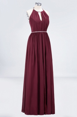 A-line Halter Sleeveless Floor-Length  Bridesmaid Dress with Beading Sash_3
