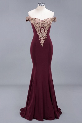 Charming Off-The-Shoulder Floor-Length  Mermaid Appliques Zipper Prom Dress_3