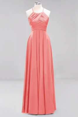 A-Line  Halter Ruffles Floor-Length Bridesmaid Dress_7