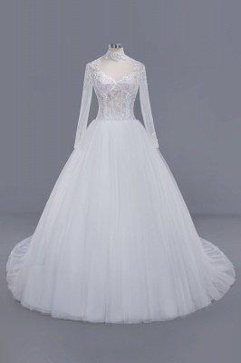 Elegant Ball Gown High-Neck Long-Sleeves Floor Length Tulle Lace Wedding Dress