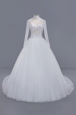 Glamorous Ball Gown High-Neck Long-Sleeves Tulle Lace Wedding Dress_1