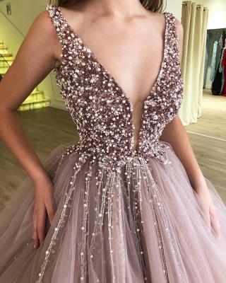 Stunning Straps Sleeveless Beading  Ball Gown Prom Dress_3