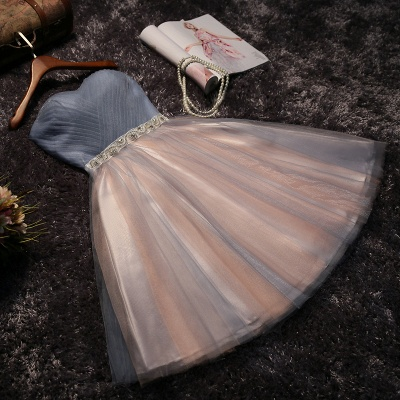 Stunning Strapless Sleeveless A-Line Bow Lace Prom Dress_4