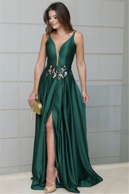 Sexy Deep V-Neck Spaghetti Straps Sleeveless Prom Dress