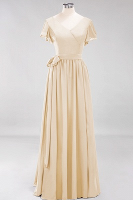 elegant A-line  V-Neck Short-Sleeves Floor-Length Bridesmaid Dresses with Bow Sash_14