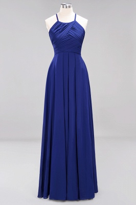 A-Line  Halter Ruffles Floor-Length Bridesmaid Dress_25