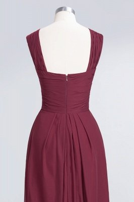 A-Line V-Neck Straps Sleeveless Floor-Length  Bridesmaid Dress with Ruffles_6