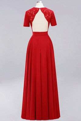 A-Line Chiffon Bridesmaid Dresses | Sweetheart Cap Sleeves Lace Wedding Party Dresses_4