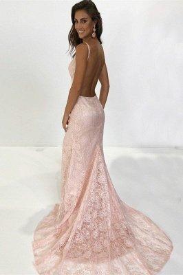 Charming Spaghetti Straps Sleeveless V-Neck Backless Appliques Prom Dress_2