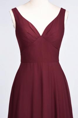 A-Line V-Neck Straps Sleeveless Ruffles Floor-Length  Bridesmaid Dress with Open Back_5