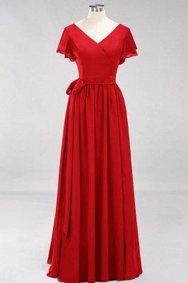 elegant A-line  V-Neck Short-Sleeves Floor-Length Bridesmaid Dresses with Bow Sash_8
