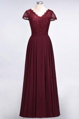 A-Line V-Neck Cap-Sleeves Floor-Length  Lace Bridesmaid Dress_1