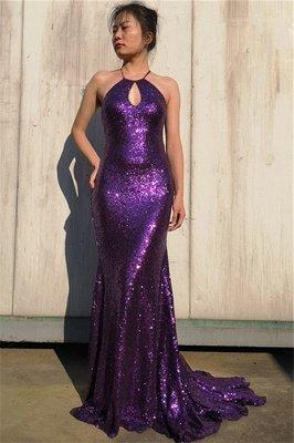 Glamorous Purple Halter Sleeveless Mermaid Floor-Length Prom Dress_1