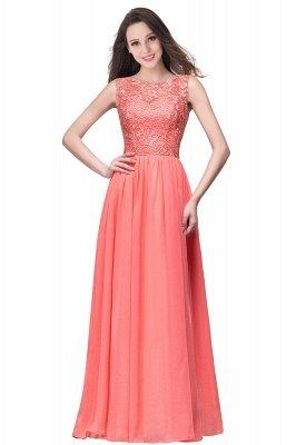 ELYSE | A-line Sleeveless Crew Floor-length Lace Top Chiffon Prom Dresses_9