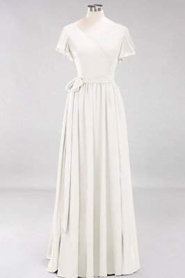 elegant A-line  V-Neck Short-Sleeves Floor-Length Bridesmaid Dresses with Bow Sash_2