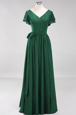 elegant A-line  V-Neck Short-Sleeves Floor-Length Bridesmaid Dresses with Bow Sash_30