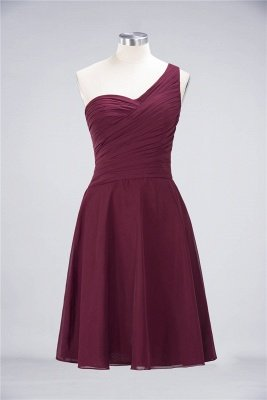 A-Line One-Shoulder Sweetheart Sleeveless Knee-Length  Bridesmaid Dress with Ruffles_35