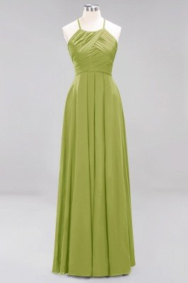 A-Line  Halter Ruffles Floor-Length Bridesmaid Dress_32