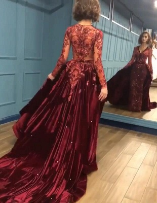 2019 Sparkle Beads Burgundy Long Sleeves Prom Dresses with Appliques BC0731_4