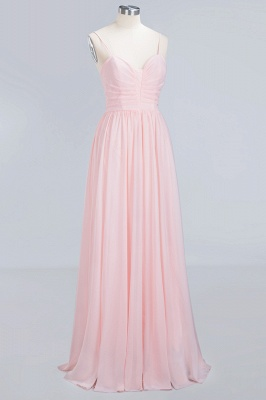 Pink Chiffon Simple Floor-length Sleeveless A-line Spaghetti-Strap Zipper Bridesmaid Dress_10