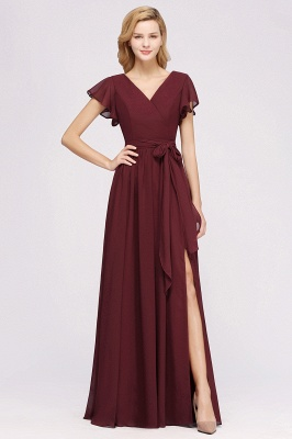elegant A-line  V-Neck Short-Sleeves Floor-Length Bridesmaid Dresses with Bow Sash_1