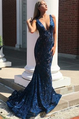 Glamorous Straps Deep V-Neck Sleeveless Mermaid Prom Dress_1