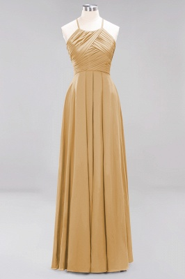 A-Line  Halter Ruffles Floor-Length Bridesmaid Dress_13