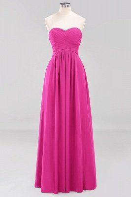 A-line  Sweetheart Strapless Ruffles Floor-length Bridesmaid Dress_9