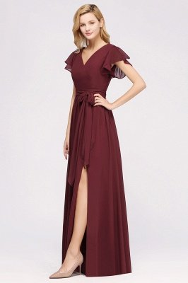 elegant A-line  V-Neck Short-Sleeves Floor-Length Bridesmaid Dresses with Bow Sash_4