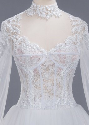 Glamorous Ball Gown High-Neck Long-Sleeves Tulle Lace Wedding Dress_7