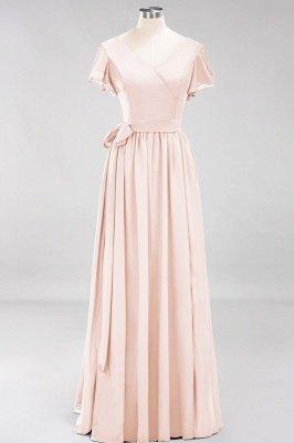 elegant A-line  V-Neck Short-Sleeves Floor-Length Bridesmaid Dresses with Bow Sash_5