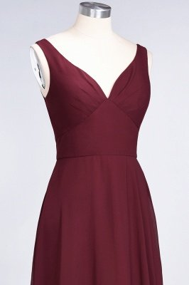 A-Line V-Neck Straps Sleeveless Ruffles Floor-Length  Bridesmaid Dress with Open Back_6