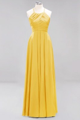 A-Line  Halter Ruffles Floor-Length Bridesmaid Dress_16